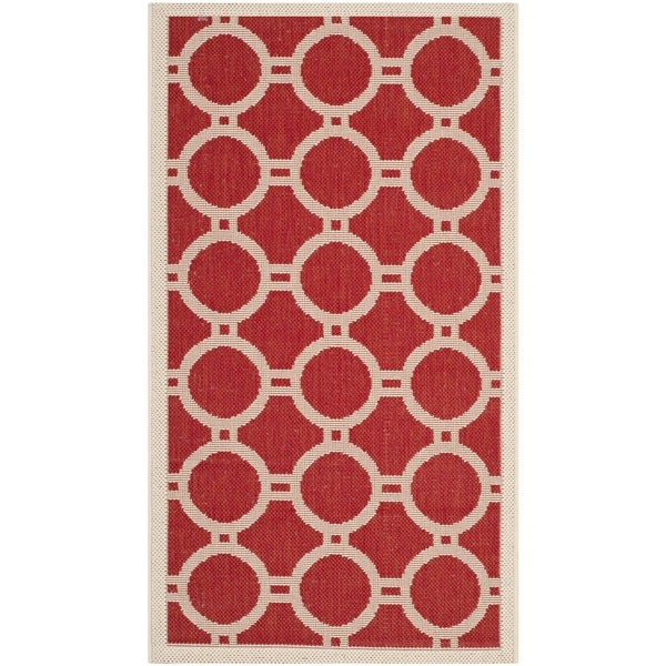 Safavieh Indoor/ Outdoor Courtyard Red/ Bone Geometric-pattern Rug - 2' x 3'7