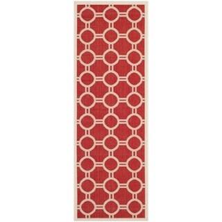 Safavieh Machine-made Indoor/ Outdoor Courtyard Red/ Bone Rug (2'3 x 6'7)