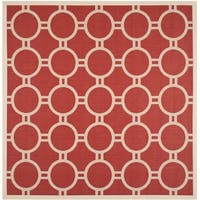 Safavieh Indoor/ Outdoor Courtyard Rectangular Red/ Bone Rug - 7'10 Square