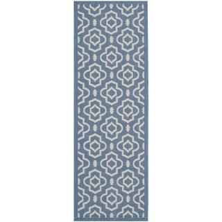 Safavieh Indoor/ Outdoor Courtyard Blue/ Beige Rug with .25-inch Pile (2'3 x 6'7)