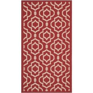 Safavieh Contemporary Indoor/ Outdoor Courtyard Red/ Bone Rug (2' x 3'7)