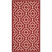 "Safavieh Indoor/ Outdoor Courtyard Red/ Bone Area Rug - 2'7"" x 5'"