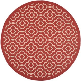 Contemporary Safavieh Indoor/ Outdoor Courtyard Red/ Bone Rug (7'10 Round)