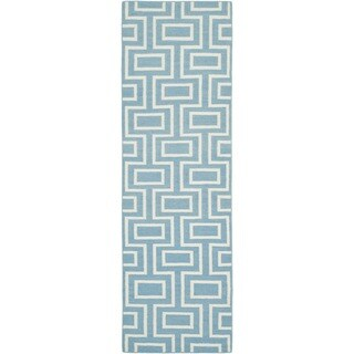 Safavieh Hand-woven Moroccan Reversible Dhurrie Light Blue/ Ivory Wool Rug (2'6 x 10')