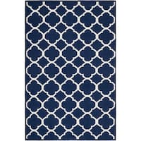Safavieh Hand-woven Moroccan Reversible Dhurrie Navy/ Ivory Wool/ Viscose Rug (4' x 6') - 4' x 6'