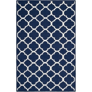 Safavieh Hand-woven Moroccan Reversible Dhurrie Navy/ Ivory Wool/ Viscose Rug (8' x 10')