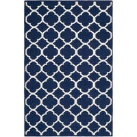 Safavieh Hand-woven Moroccan Reversible Dhurrie Navy/ Ivory Wool/ Viscose Rug - 8' x 10'