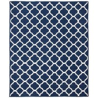 Safavieh Hand-woven Moroccan Reversible Dhurrie Navy/ Ivory Wool/ Viscose Rug - 8' x 10'