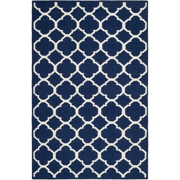 Safavieh Hand-woven Moroccan Reversible Dhurrie Navy/ Ivory Wool/ Viscose Rug (9' x 12')