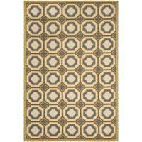 Safavieh Hampton Indoor/ Outdoor Stain Resistant Dark Grey/ Ivory Rug - 8' X 11'