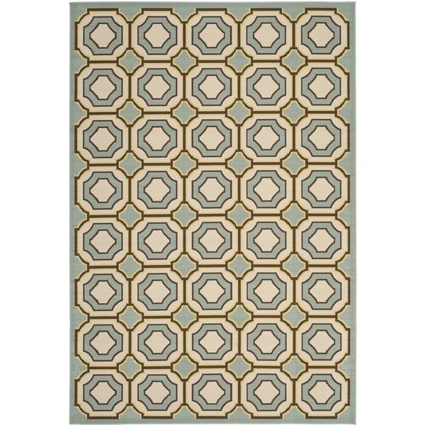 Safavieh Hampton Indoor/ Outdoor Stain Resistant Light Blue/ Ivory Rug (8' x 11')