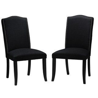 Cortesi Home Black Linen Camelback Dining Chairs (Set of 2)