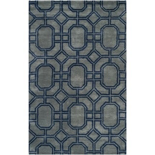 Safavieh Handmade Soho Grey/ Dark Blue New Zealand Wool/ Viscose Rug (5' x 8')