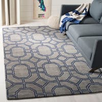 Safavieh Handmade Soho Grey/ Dark Blue New Zealand Wool/ Viscose Rug - 7'6 x 9'6
