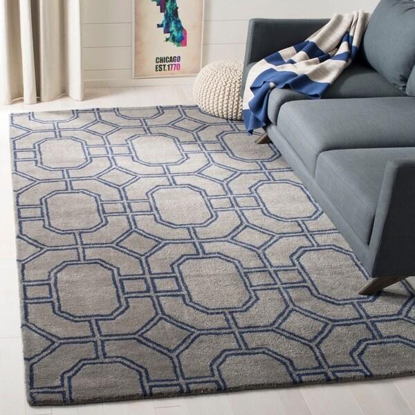 Safavieh Handmade Soho Grey/ Dark Blue New Zealand Wool/ Viscose Rug - 7'6 x 9'6
