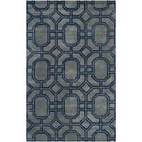 "Safavieh Handmade Soho Grey/ Dark Blue New Zealand Wool/ Viscose Rug - 8'3"" x 11'"