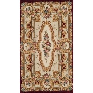 Safavieh Handmade Savonnerie Gold Wool Rug (4' x 6')