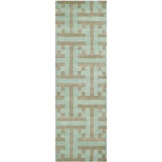Safavieh Handmade Soho Light Blue New Zealand Wool/ Viscose Rug (2'6 x 8')