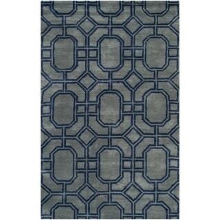 Safavieh Handmade Soho Grey/ Dark Blue New Zealand Wool/ Viscose Rug (3'6 x 5'6)