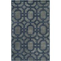 Safavieh Handmade Soho Grey/ Dark Blue New Zealand Wool/ Viscose Rug - 3'6' x 5'6'