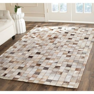 Safavieh Hand-woven Studio Leather Modern Beige Leather Rug (5' x 8')