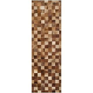 Safavieh Hand-woven Studio Leather Modern Brown/ Light Brown Rug (2'3 x 7')
