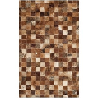 Safavieh Hand-woven Studio Leather Modern Brown/ Light Brown Rug (3' x 5')