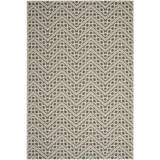 Safavieh Hampton Indoor/ Outdoor Stain Resistant Dark Grey/ Ivory Area Rug (8' x 11')