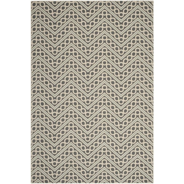 Safavieh Hampton Indoor/ Outdoor Stain Resistant Dark Grey/ Ivory Area Rug - 8' X 11'
