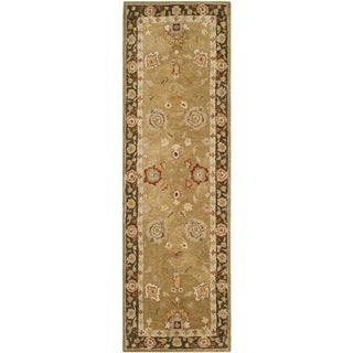 Safavieh Handmade Taj Mahal Gold/ Chocolate Wool Rug (2'6 x 8')