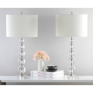 Safavieh Lighting 29-inch Liam White Shade Stacked Crystal Ball Table Lamp|https://ak1.ostkcdn.com/images/products/8353200/P15662216.jpg?impolicy=medium
