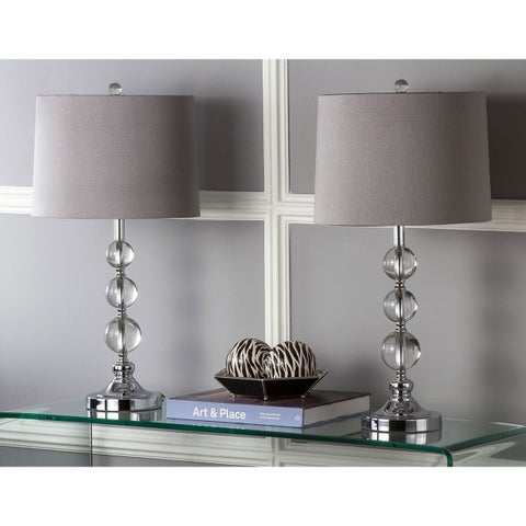 "Safavieh Lighting 27-inch Keeva Clear Stacked Crystal Orbs with Grey Shade LED Table Lamp (Set of 2) - 14"" x 14"" x 26"""