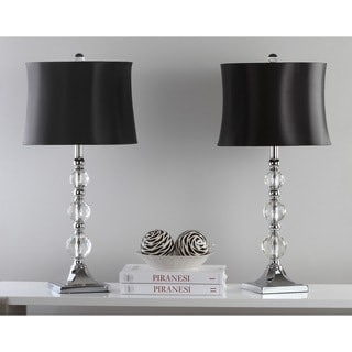 Safavieh Lighting 28 Inch Maeve Black Shade Crystal Ball Table Lamp (Set Of  2