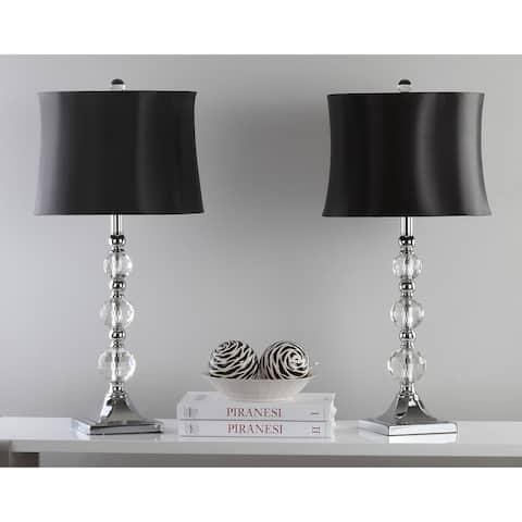 "Safavieh Lighting 28-inch Maeve Black Shade Crystal Ball Table Lamp (Set of 2) - 14""x14""x28"""