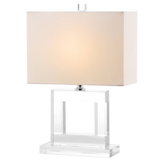 Safavieh Lighting 20.5-inch Town White Shade Square Crystal Table Lamp
