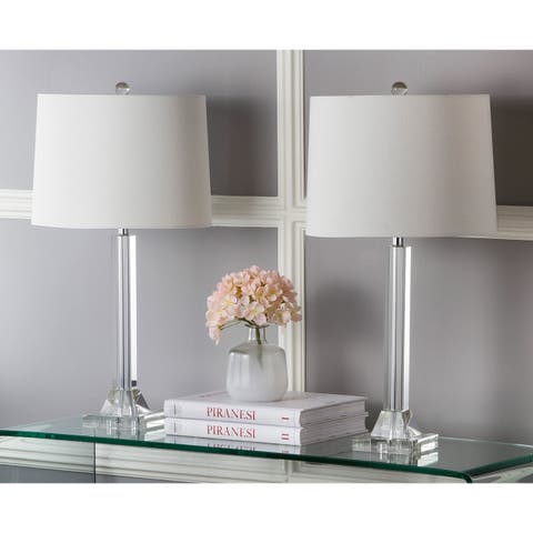 Safavieh Lighting 27-inch Tyrone Cream Shade Crystal Column Table Lamp (Set of 2)