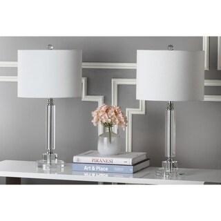 Safavieh Lighting 24.5-inch Deco White Shade Column Crystal Table Lamp (Set of 2)
