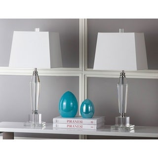 Safavieh Lighting 28-inch Aiden White Shade Faceted Crystal Table Lamp (Set of 2)