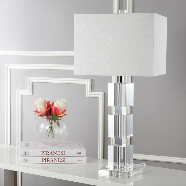 Safavieh Lighting 28-inch Ice Palace White Shade Crystal Cube Table Lamp