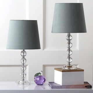 Safavieh Lighting 16-inch Nola Green Shade Stacked Crystal Ball Table Lamp