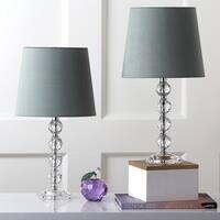 Safavieh Lighting 16-inch Nola Green Shade Stacked Crystal Ball Table Lamp (Set of 2)