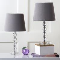 Safavieh Lighting 16-inch Nola Grey Shade Stacked Crystal Ball Table Lamp (Set of 2)
