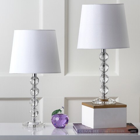 "Safavieh Lighting 16-inch Nola White Shade Stacked Crystal Ball Table Lamp (Set of 2) - 9"" x 9"" x 16"""