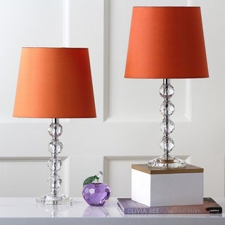 Safavieh Lighting 16-inch Nola Orange Shade Stacked Crystal Ball Table Lamp (Set of 2)