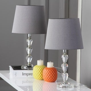 Safavieh Lighting 15.8-inch Dylan Grey Shade Tiered Crystal Orb Table Lamp