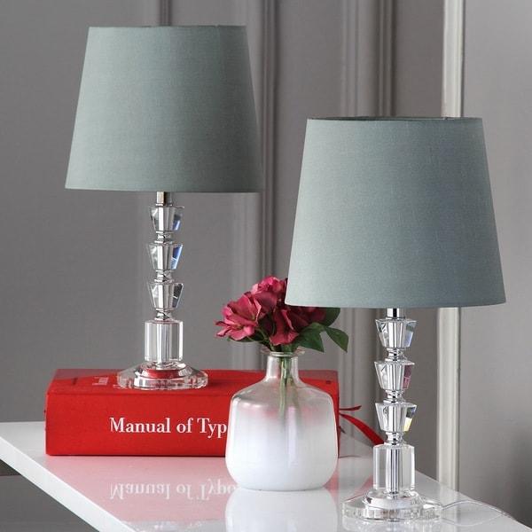 Safavieh Lighting 16-inch Harlow Green Shade Tiered Crystal Orb Table Lamp (Set of 2)