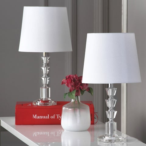 Safavieh Lighting 16-inch Harlow White Shade Tiered Crystal Orb Table Lamp (Set of 2)
