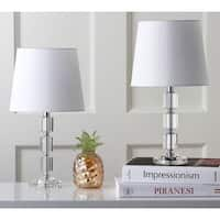 "Safavieh Lighting 15-inch Erin White Shade Crystal Cube Table Lamp (Set of 2) - 9"" x 9"" x 16"""