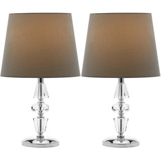 Safavieh Lighting 15-inch Crescendo Green Shade Tiered Crystal Table Lamp (Set of 2)