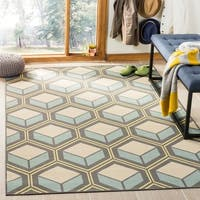 Safavieh Hampton Indoor/ Outdoor Stain Resistant Dark Grey/ Light Blue Area Rug - 5'1 x 7'7